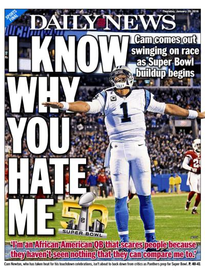 Cam Newton NY Daily News Cover